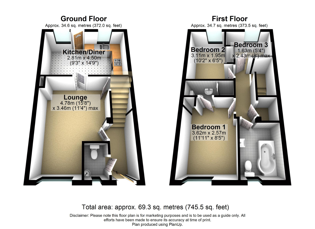 Floorplan of Perth Close, Fearnhead, Warrington, WA2 0SF